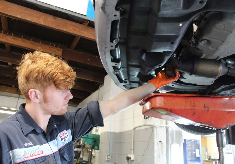 Young mechanic performing a car servicing in Hamilton.