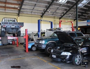 Cars in Hamilton mechanics waiting to be serviced